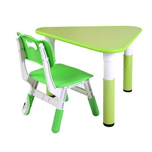 Enfants étudier Table Chambre des Enfants Apprendre à écrire la Peinture Jeu Table et Chaise Triangle Table en Bois Table de Jardin (Color : Green)