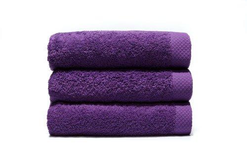 Lasa Pure Juego 3 Toallas, algodón 100%, Violeta, Ducha (70 x 140 cm), Lavabo y tocador