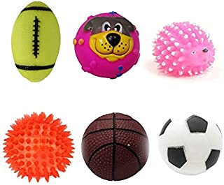 RvPaws Squeaky Toy Combo of 6 (Mini Hedgehog + Baseball + Cute Puppy Face Ball + Football + Basketball + Led Ball) - Color...