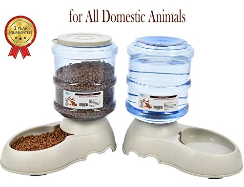 YGJT Comederos Automáticos de Alimentos/Fuente de Agua Automática para Perros Gatos y Mascotas- 2 Piezas- 3.75L Cuenco Accesorio Dispensador para Mascotas (sin Necesidad de Batería)