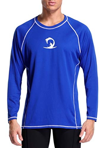 beautyin Men's Dry-Fit Activewear Basic Shirt UPF 50+ Long Sleeve Sun T-Shirts Blue