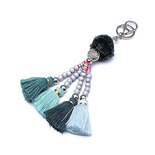 Tassel Pom Pom Key Chain Boho Charm Key Ring, Fashion Handmade Accessories for Women Handbag/Bag/Car Decor Colorful (Green)