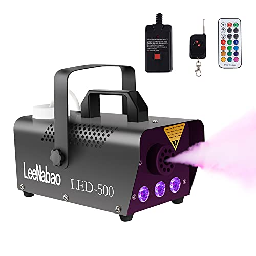 Fog Machine with LED Lights, Potable Smoke Machine with Wireless Remote Controls, 500w DJ Stage Fog Atmosphere Maker for…
