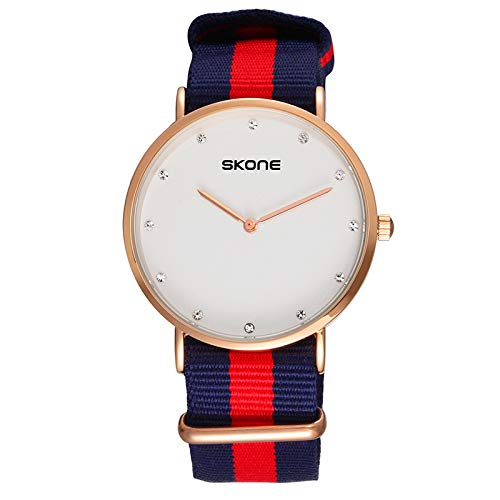 FENKOO Schöne Armbanduhren Skone Uhr Mode Herren Nylon Armband Quarzuhr (Color : 2)