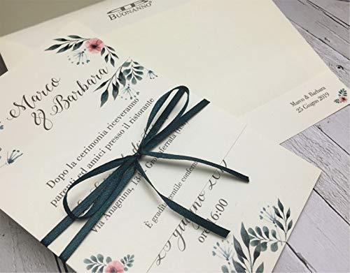 Set partecipazioni Nozze Personalizzate inviti Matrimonio BUONANNO cod. T005 (30)