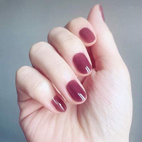 Jsmhh Faux ongles simples manucure Gradient Patch Wearable ongles Faux Solide Couleur Fini 24 Pièces (Color : Jelly purple circle)