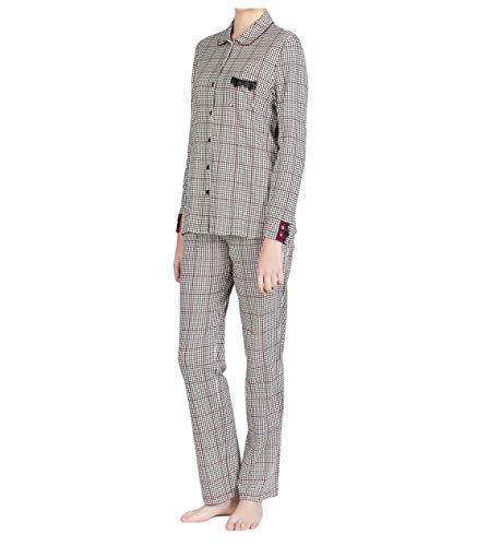 EGATEX Pyjamas Mujer Pied de Poule Detalles de Encaje Blanco/Negro Mod 182514 100% algodón Made in Spain (XL)