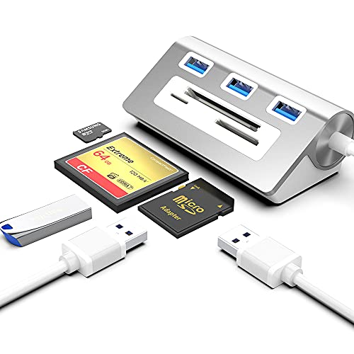 Opluz USB 3.0 Hub und CF-Kartenleser kombiniert, 6-in-1-Multifunktions-USB-Hub-Adapter aus Aluminiumlegierung mit 3 USB 3.0-Anschlüssen, CF/SD/TF-Steckplätzen, kompatibel mit Windows/Mac/Linux