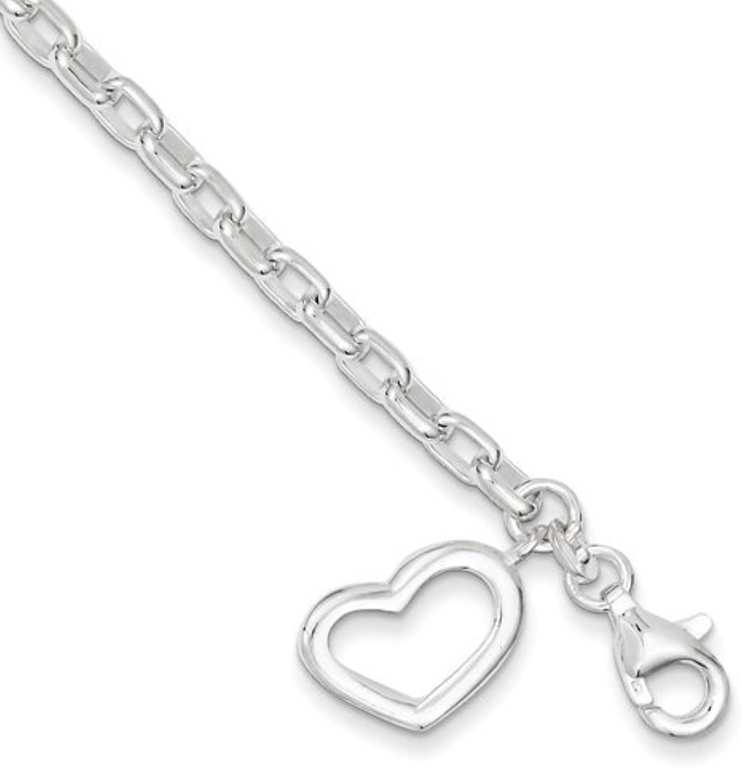 gold and Watches Sterling Silver Small Oval Rolo Link with Heart Bracelet