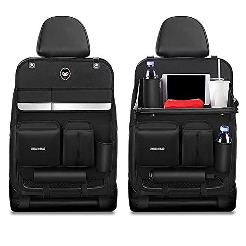 Ablily - Bolsa de almacenamiento para respaldo de silla, protección trasera de asiento de coche, impermeable, asiento trasero de coche con soporte
