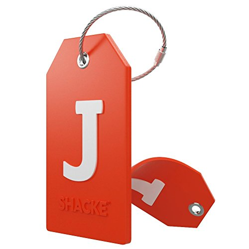 Initial Luggage Tag with Full Privacy Cover and Stainless Steel Loop – (Letter J)