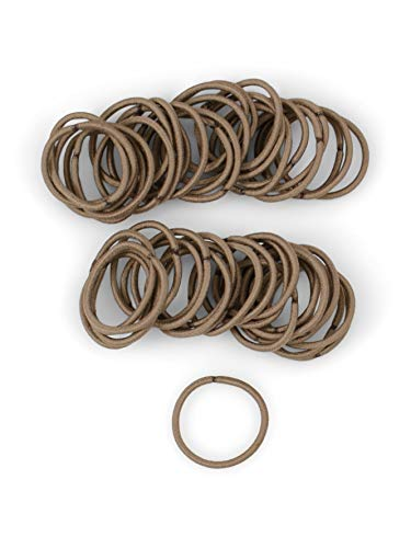 Heliums Small Light Brown Hair Elastics, 2mm Thin Mini 1 Inch Sized Hair Ties for Kids, Braids and Fine Hair - 48 Count (Light Ash Brown)