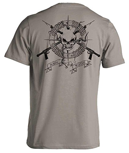 Born of Water Spearfishing/Scuba Diving T-Shirt: Skull & Spearguns: Freedive | Dive | Spearfish - Lt Gray - L