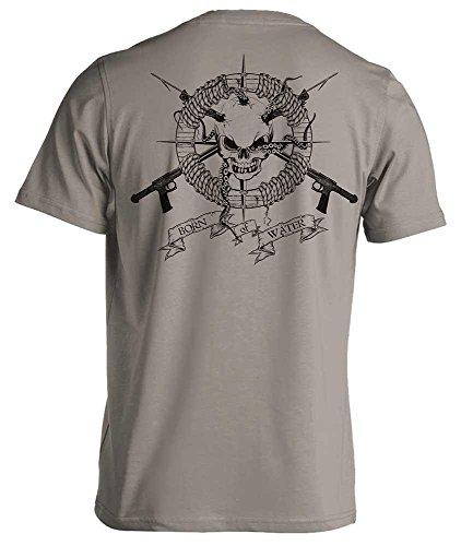 Born of Water Men's Skull and Speargun Spearfishing Short Sleeve T-Shirt - Lt Gray - 3XL