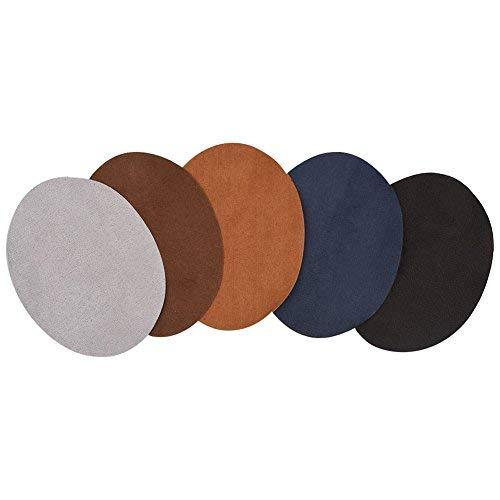 HEEPDD Coudiere A Coudre, 10pcs Coude Genou Patchs Applique de Couture Forme Ovale PU Patch en Cuir Réparation de Couture Décoratif Coudière pour Chemise Artisant DIY 3.78 x 5.04 Pouce