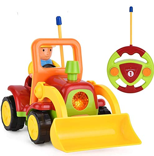 Haktoys My First RC Cartoon Loader Bulldozer Construction Truck with Music Button & LED Headlight | Safe & Durable | Learning to Drive Car Great Gift Radio Control Toy for Toddlers, Kids, Boys & Girls