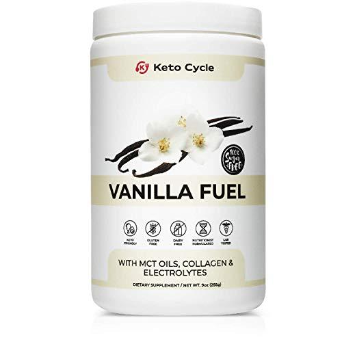 Keto Cycle Keto Collagen Protein Powder with MCT Oil Powder & Electrolyte Powder (Vanilla - 9oz.) Great in Keto Coffee or Your Keto Shake