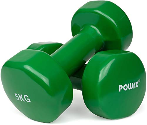 POWRX Manubri Pesi Vinile 10 kg Set (2 x 5 kg) + PDF Workout (Verde)