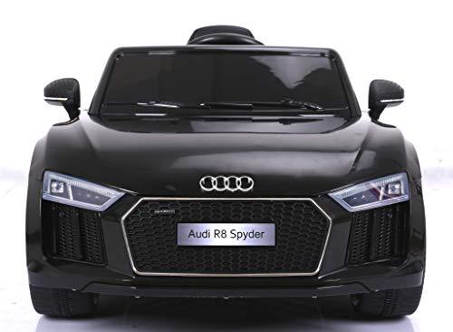 Audi R8 Spyder Elektrisches Auto für Kinder, Schwarz, Original lizenziert, batteriebetrieben, Öffnungstüren, Ledersitz, 2X Motor, 12V Batterie, 2.4 Ghz Fernbedienung