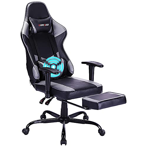 Storm Racer Ergonomic Gaming Chairs High Back Computer Chair of Professional Racing Style Comfortable Gamer Chair with Footrest and Massage Backrest and Lumbar Pillows (Grey)