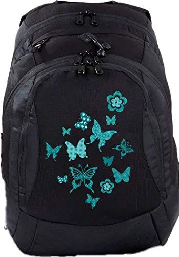 Mein Zwergenland Schulrucksack Teen Compact, 26 L, Schwarz, türkise Schmetterlinge
