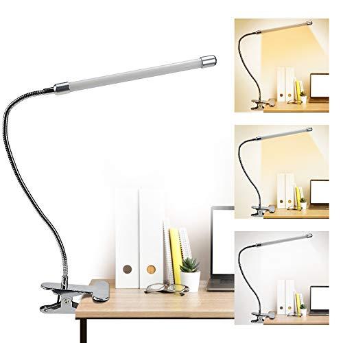 Lampada da Scrivania LED, lampada da tavolo 9 Livelli di Luminosità Luce Libro con Pinza, Lampada da Lettura USB Collo di Cigno Flessibile Ricaricabile per Libro/Lavoro/Letto/Tavolo argento