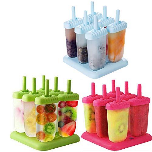 DRUN 2/3 Imposta stampi riutilizzabili ghiacciolo Stampo Fai da Te congelato Crema di Frutta Yogurt rettangolo icebox 6 Pezzi con bastoni attrezzo da Cucina per la casa (Rosso + Verde + Blu)