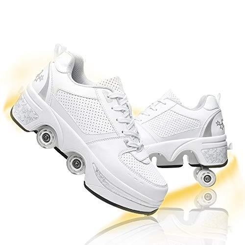 Pattine A Rotelle Scarpe con Rotelle Pattini A Rotelle Retrattile 4 Ruote Skateboard Sneakers Sportive da Esterno per Adulti,White Silver,EU 38(US 7.5)