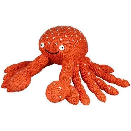 Chill n Feel - Calmant Peluche Cancer, Orange / Blanc, Crabe, Krustentier, 23cm, Coton Biologique, Commerce Équitable, Parfait pour Petit Baby-Hände
