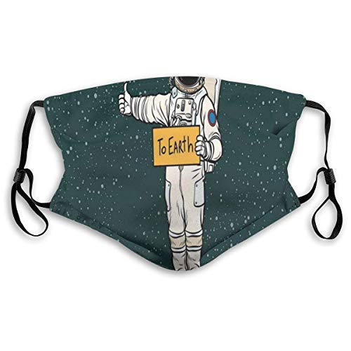 Comfortable Filter Sponge Windproof Mask,Astronaut In Outer Space Stardust Nebula In Milky Way Cosmonaut Apollo Art,Printed Facial decorations for Unisex