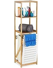 Relaxdays Badkamerrek met wasmand, badkamer rek bamboe, staand rek smal, 3 vakken, HxBxD: 130 x 37 x 33 cm, naturel
