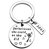 2021 Graduation Keychain Gifts Inspirational Key Ring with Graduation Cap Box and Card for College Senior Graduate for Him High School, College Graduate Present, Senior Key Chain