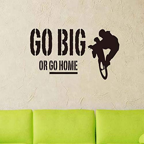 Bicycle go big or home etiqueta de la pared simple negro alfabeto Inglés patrón de la sala de arte de la pared de vinilo apliques 100x42cm