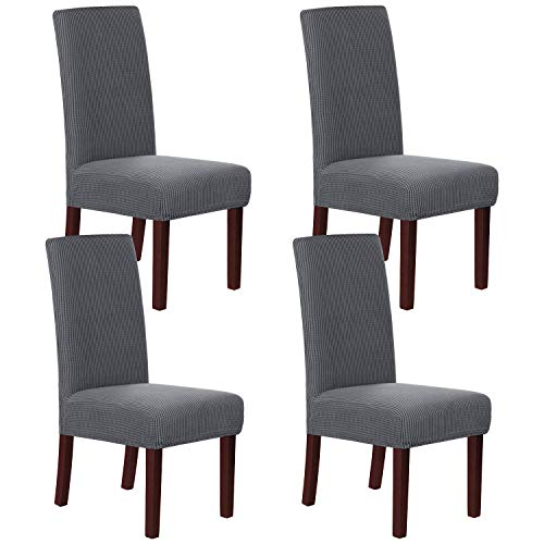 H.VERSAILTEX Stretch Dining Chair Covers Set of 4 Chair Covers for Dining Room Parsons Chair Slipcover Chair Protectors Covers Dining, Feature Textured Checked Jacquard Fabric, Gray