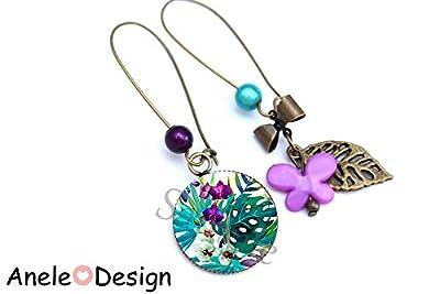 Boucles d'oreilles Fleurs tropicales, cabochon bronze violet vert blanc cadeau femme