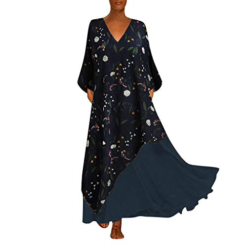 Zottom,Kleider Damen Sommer Esprit,Plus Size Damen Vintage V-Ausschnitt Spleißen Floral Bedruckte ärmellose Maxi-Kleid