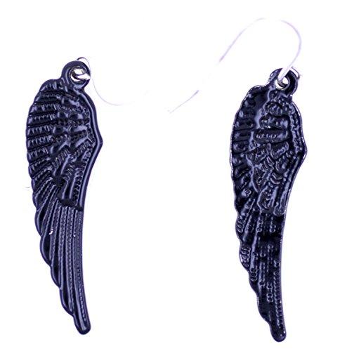 Lizzyoftheflowers Ohrringe, Motiv: Engelsflügel/Flügel, Schwarz
