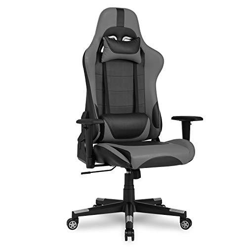 IntimaTe WM Heart Gaming Stuhl, Gamer Stuhl, Ergonomischer Racing PC Bürostuhl Höheverstellbar 135°, Drehstuhl mit Kopfkissen und Taillenstütze, Schreibtischstuhl (Grau)