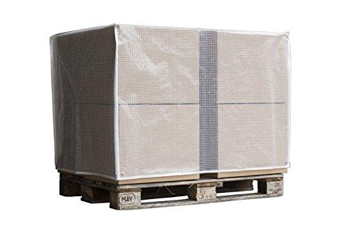 Abdeckhaube für Euro-Paletten | Palettenhaube | Robuste Polyethylen Gitter-Folie | ohne Reißverschluss | Lebensmittelunbedenklich | für Industriezwecke geeignet | 125x85x125cm | 1 Stück