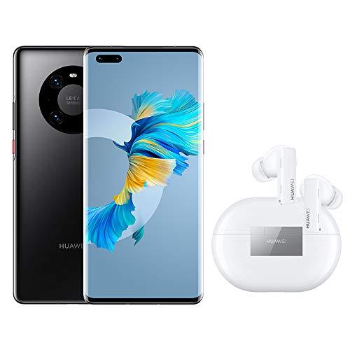 HUAWEI Mate 40 Pro – Smartphone mit 50 MP Ultra Vision Kamera, 8GB RAM, 256GB ROM - Black + FreeBuds Pro, True Wireless Bluetooth Kopfhörer mit intelligenter Geräuschunterdrückung, Ceramic White