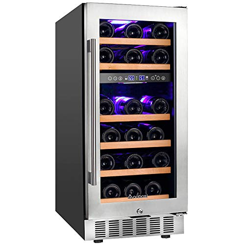 【Upgraded】Aobosi 15 Inch Wine Cooler, 28 Bottle Dual Zone Wine Refrigerator with Stainless Steel Tempered Glass Door, Temp Memory Function, Fit...