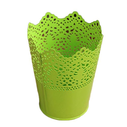 Dosige Pots de Fleurs en Métal Vase à Fer Conteneur Floral Creux Fleurs Pots Décor pour Bureau Maison Jardin - Vert
