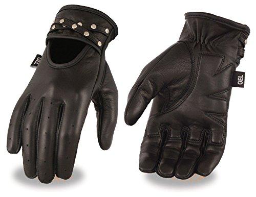 Las mujeres de la motocicleta Gel palma piel suave BLK conducción sin forro guantes con tachuelas Regular)