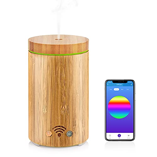 Bamboo Aroma Diffuser Essential Oil Humidifier APP Control 7 LED Mood Lights Humidifier Alexa Echo 160ML Ultrasonic Aromatherapy Waterless Auto-Off