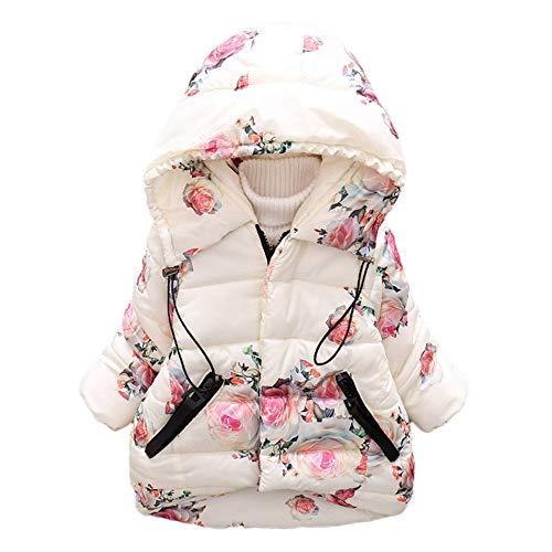 HUHU833 Baby Kapuzen Mantel, Kleinkind Baby Mädchen Blumendruck Winter Warme Jacke mit Kapuze Winddicht Mantel Daunenjacke (Beige, 3Jahre -4Jahre)