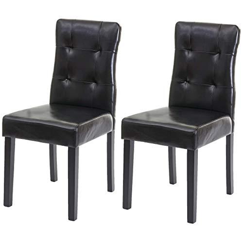 Mendler 2X Esszimmerstuhl HWC-E58, Stuhl Essstühle - Kunstleder schwarz, dunkle Beine