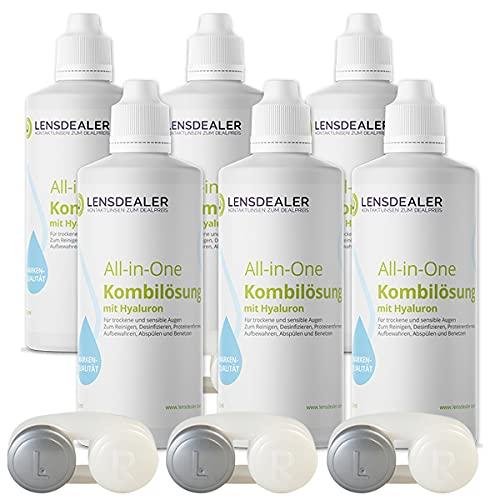 Lensdealer Kontaktlinsen Pflegemittel mit Hyaluron All-in-One Kombilösung 6x 360ml Kontaktlinsenflüssigkeit + 3x Linsenbehälter