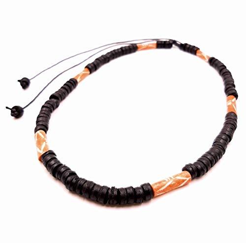 Collar surfero de coco, étnico, madera, perlas, tribal para el cuello, unisex, color negro