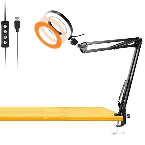 Werkbank Licht, Schreibtisch Ringlicht mit drehbarem Klemmarm, 6-Zoll-USB-Ringlicht Halterung zum Lesen, Basteln, Schminken, YouTube, Live-Streaming, Lernen, Zeichnen