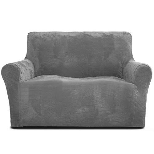 Rose Home Fashion Sofabezug für 2 Sitzer, 1 Stück Elastischer Sofaüberwurf Samt-Optisch, Couch Überzug, Sofa Überzug, Geeignet für Loveseat mit Einer Länge von 119-173 cm, Lichtgrau